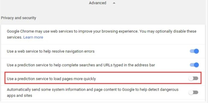 Use A Prediction Service To Load Pages MOre Quickly' option