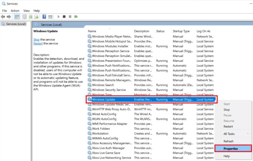 Windows Update service. Then select Properties.