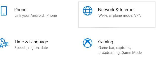 choose Network & Internet.