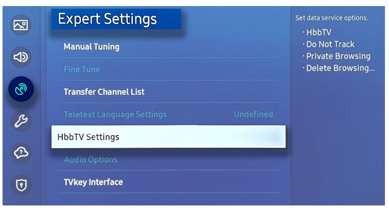 choose the HbbTV Settings.
