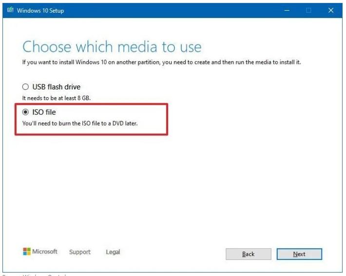 choose the ISO file option