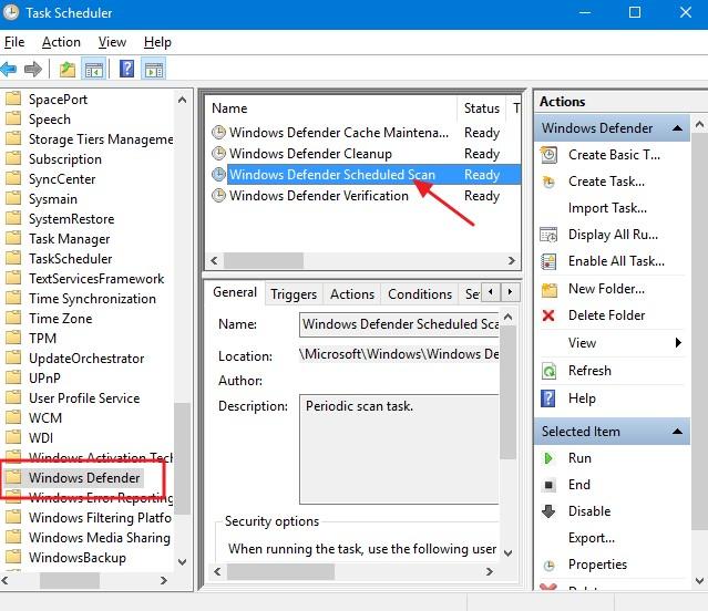 click Windows Defender Scheduled Scan.
