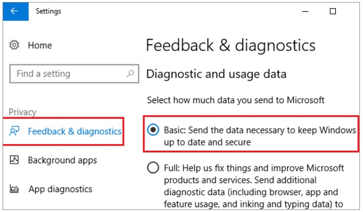 click on Feedback & Diagnostics and then you have to set Diagnostics and Usage Data To Basic
