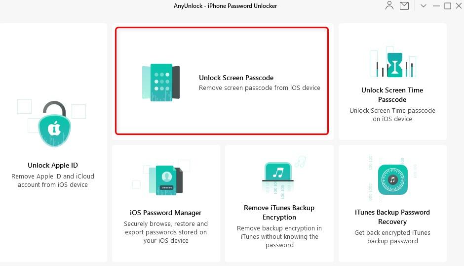 click on Unlock Screen Passcode