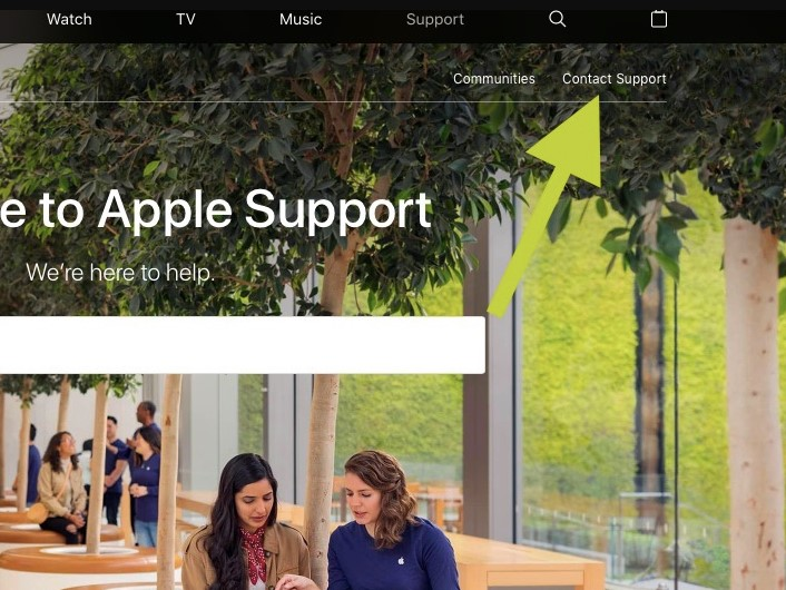 click on the Contact Support at the top menu bar