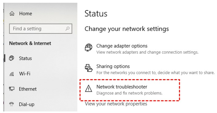 click on the Network Troubleshooter