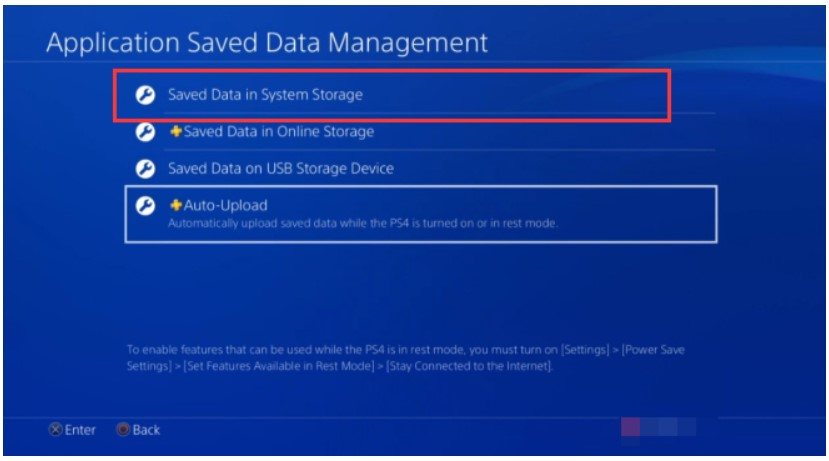 click on the Saved Data in System Storage option