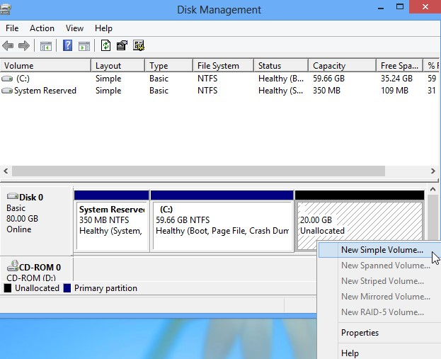 click on the unallocated space from the Disk