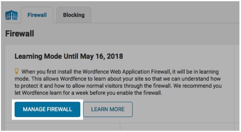 click the MANAGE FIREWALL