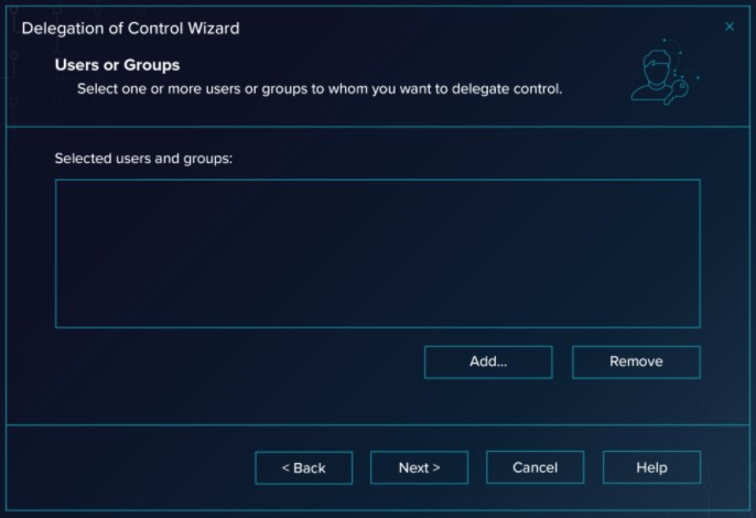 click through the Wizard until you get a screen with 'Selected Users and Groups