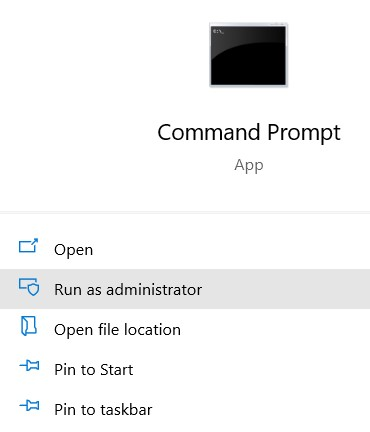 command prompt (result) and choose Run as Administrator.