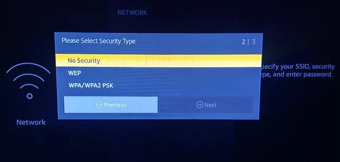 confirm the network security type.
