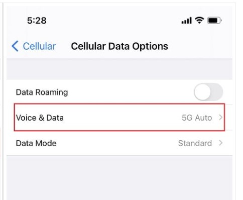 make sure that you choose 5G On or 5G Auto.