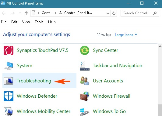 navigate to Control Panel - Troubleshooting
