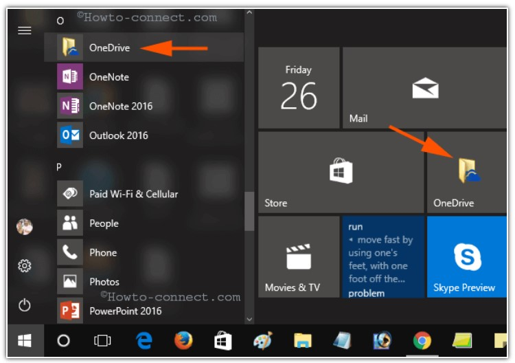 open the Start menu and then you have to find OneDrive