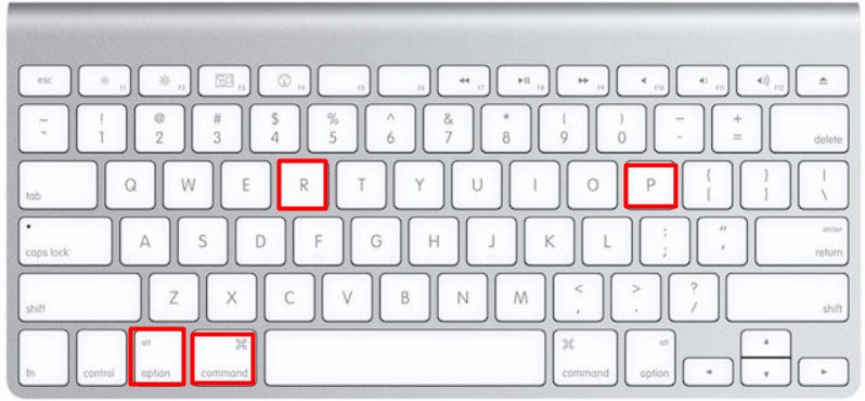 press Option, Command, P and R.