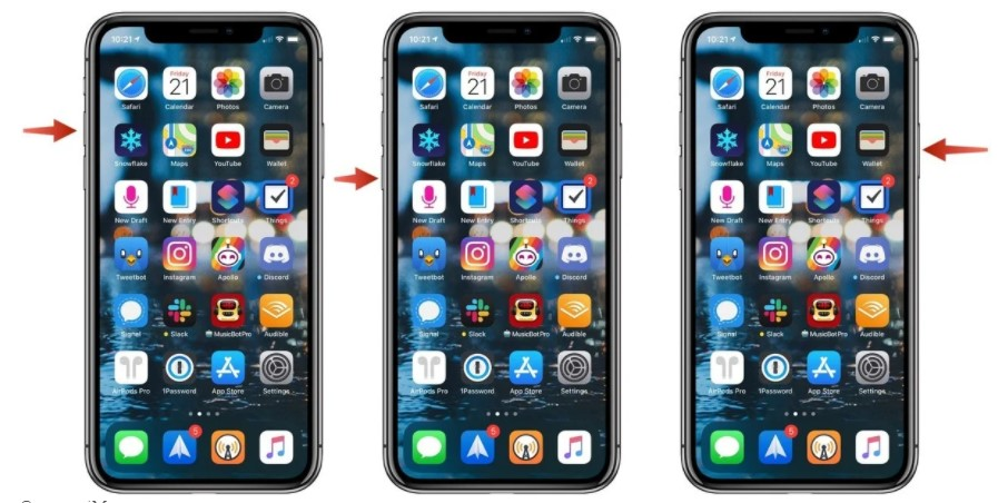 press and hold theSidebutton and release it if the Apple logo displays