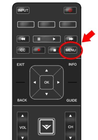press the menu button located on the Vizio remote