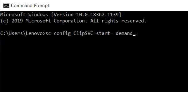 sc config ClipSVC start= demand