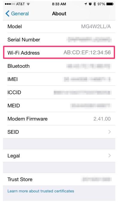 scroll down to the Wifi address