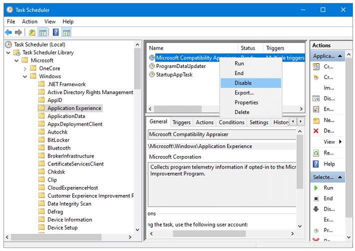 search for Microsoft Compatibility Appraiser on the Application Experience folder