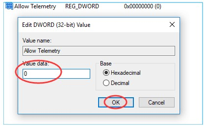 set the Value data to 0 and then click on OK
