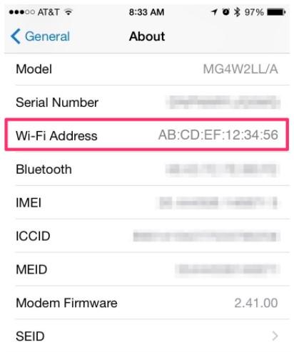 the Wifi address is your MAC address