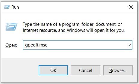type gpedit.msc and press Enter key