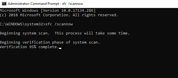 type in sfc scannow into the Command Prompt window and hit Enter