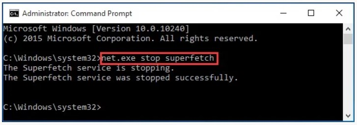 type net.exe stop superfetch