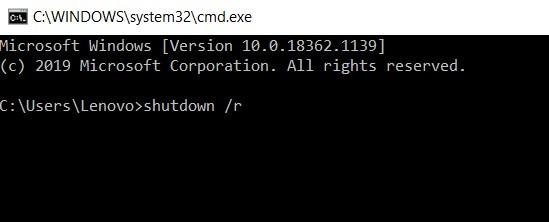 type shutdown r