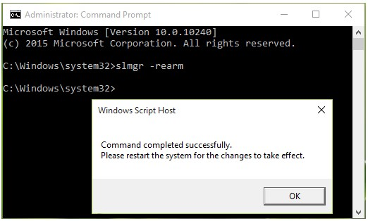 type slmgr -rearm command in the command prompt