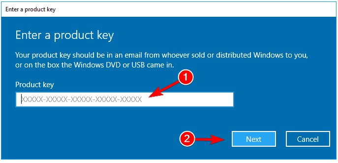 type the product key which you saved. Click on the Next button