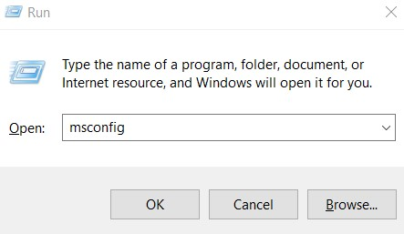 you are able to type msconfig and hit Enter