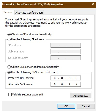 Change Your IPv4 DNS Address