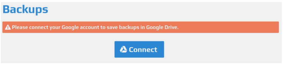 Connecting a Google Drive account