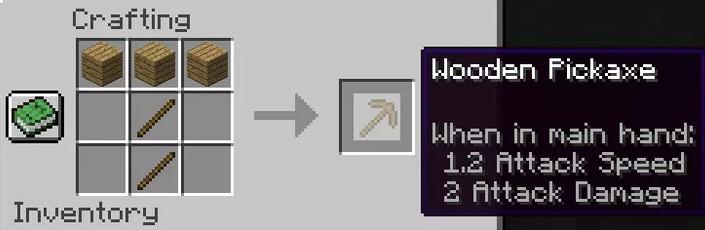 Craft a wooden pickaxe