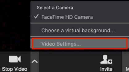 Open the video settings of Zoom