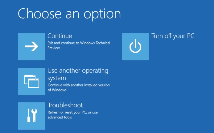 Select Troubleshoot - Reset this PC from the options screen