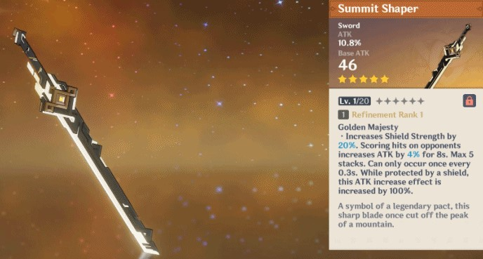 Summit Shaper Sword in Genshin Impact Update 1.2