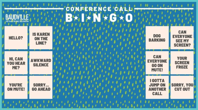 Zoom background Conference Call Bingo