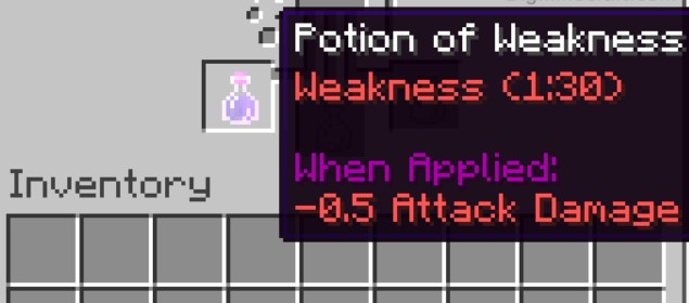 a Weakness Potion is now completed if you see your bottle containing a Weakness Potion