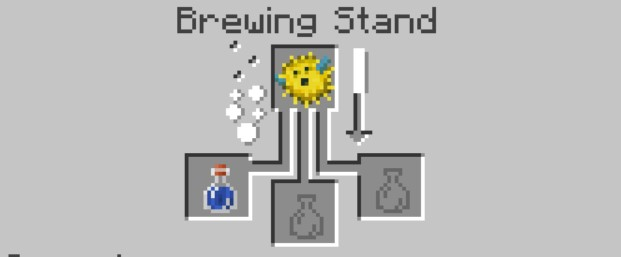 add the Pufferfish to the top box in the Brewing Stand menu.