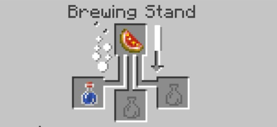add the glistering melon to the top box in the brewing stand menu