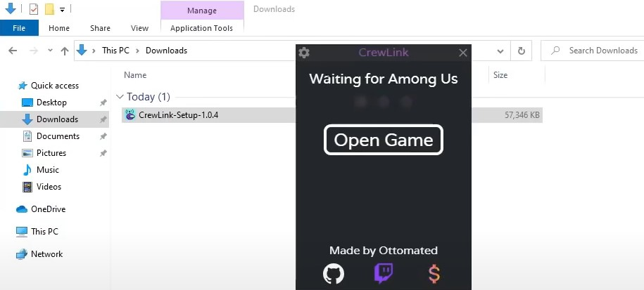 aunch the Among Us game through the CrewLink mod interface.
