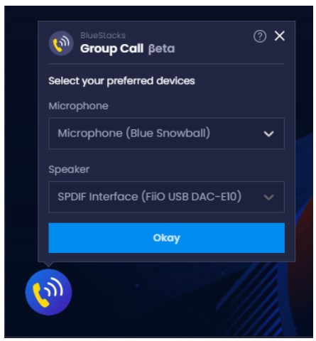choose your preferred audio input and output devices for the voice chat by using the dropdown menus. Then, you must click on Okay
