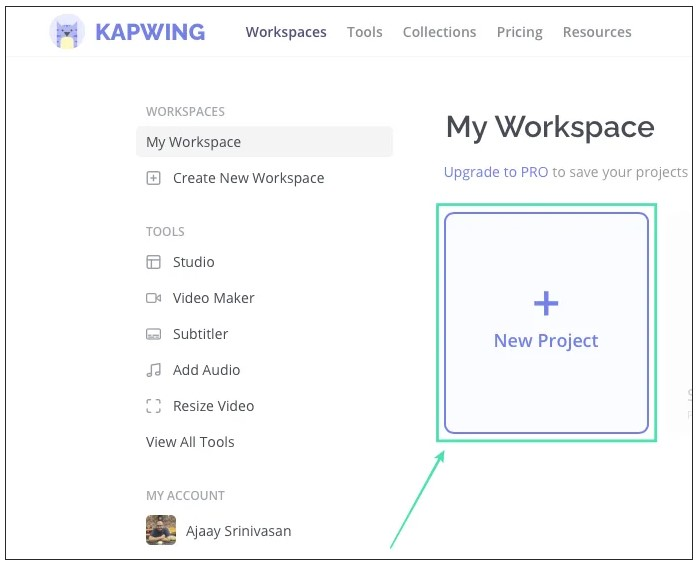 click on 'New Project' and then choose 'Start with Studio