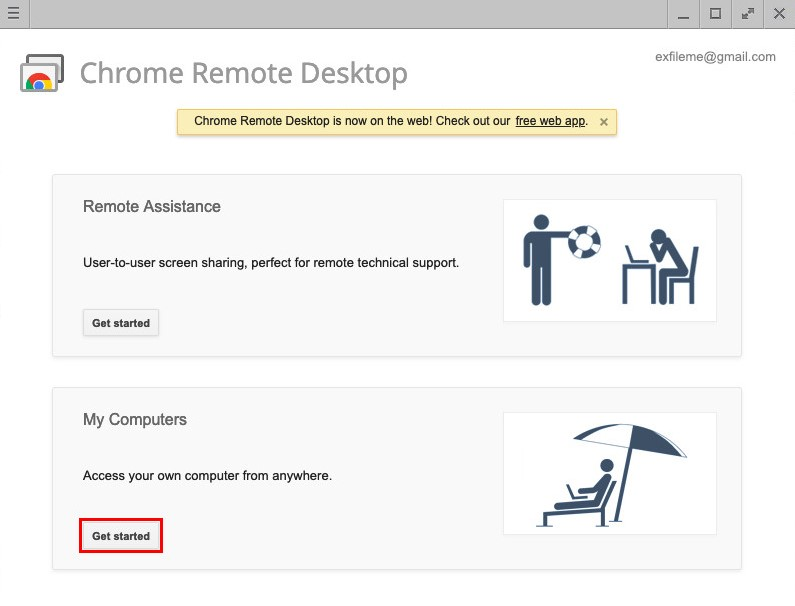 click the Chrome Remote Desktop icon