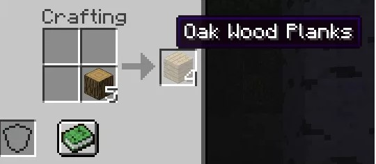 craft wooden planks by placing any log into the 2x2 crafting grid of your inventor