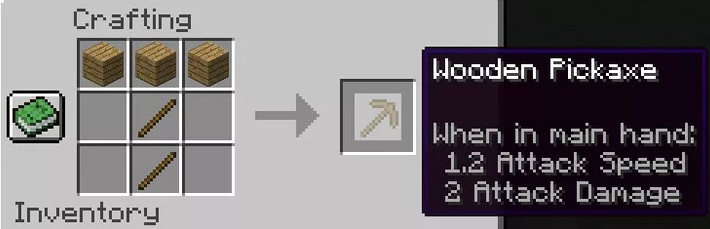 crafted is a wooden pickaxe.